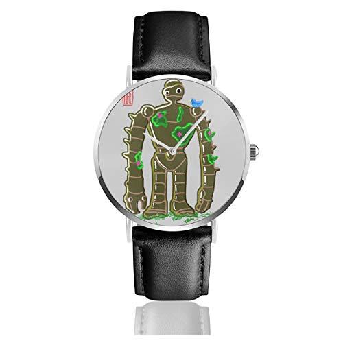 Unisex Business Casual Ghibli Bakemono Roboter Soldat Laputa Schloss im Himmel Uhren Quarz Leder Uhr mit schwarzem Lederband für Männer Frauen Junge Kollektion Geschenk