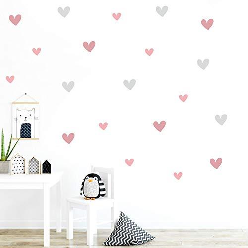 malango® 30 Wandsticker in verschiedenen Farbkombinationen Herzen Kinderzimmer Wandtattoo Wanddekoration selbstklebend hellgrau-Altrosa-korallenrosa