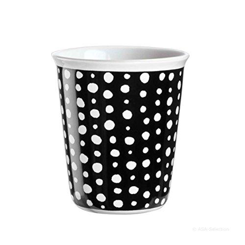 ASA coppetta Tasse à expresso, Tasse à Café, Tasse, Céramique, White Spots, noir/blanc, 100 ml, 44010214