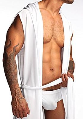 Elwow Ultra-Soft Men's One Piece Hooded Towelling Bath Robe, Dressing Gown, Wrap Nightwear, Sleepwear, House Loungewear