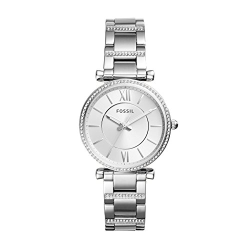 Fossil Women's Carlie Quartz Stainless Three-Hand Watch, Color: Silver (Model: ES4341)