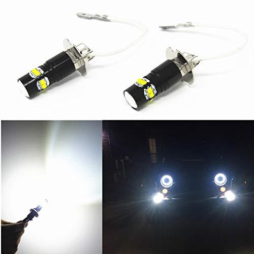 Alla Lighting Super Bright H3 LED Fog Lights Bulbs 12V H3 LED Bulbs 6000K Xenon White LED H3 Bulb High Power 50W H3 LED Lights Replacement for Fog Lamps