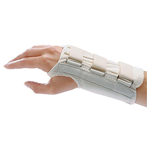 Rolyan 82405 D-Ring Right Wrist Brace, Size Medium Fits Wrists 6.75'-7.5', 7' Regular Length Support, Beige Brace with Straps and D-Ring Connectors to Secure and Stabilize Hands and Wrists