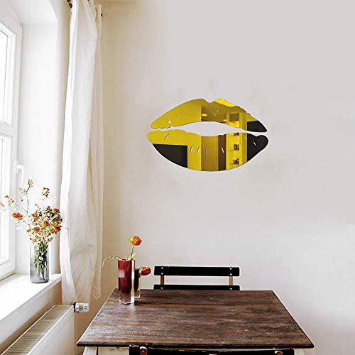 LZYMSZ Wandaufkleber Lippen Spiegel, 2er-Set 3D große Kuss-Form-Aufkleber, Acryl, DIY Kunst Selbstklebende Wandbilder für Schlafzimmer, Wohnzimmer, Badezimmer, Heimdekoration Gold