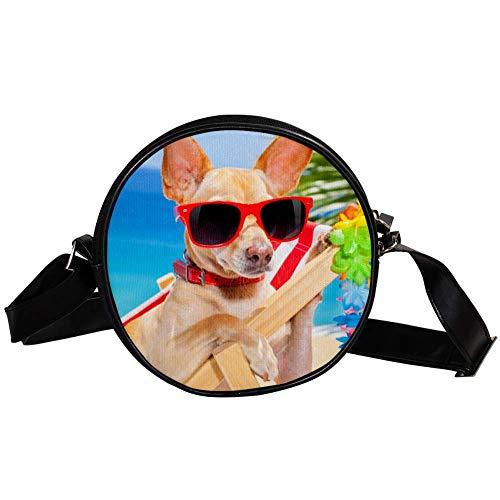 Bennigiry Chihuahua Brille Sonnenliege Rund Umhängetasche Tragegriff für Damen