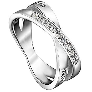 Christian Women s Stainless Steel Purity Ring  True Love Waits  2 Bands Become One with Sparkling CZ Stones  8