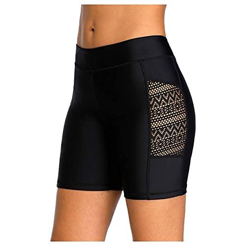 Lazzboy Badeshorts Frauen Hollow Jaquard Badehose Bikini-Badehose Shorts Bottom Badeanzug Badebekleidung Baden Damen Spitze Strandshorts Schwimmshorts Hose Beach (Schwarz-Spitze,XL)