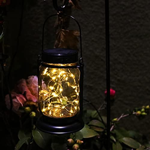 YUEFA Solar Lanterns Outdoor Waterproof, Mason jar Hanging Solar Garden Lights lantrens,for DIY Garden Patio Holiday and Outdoor Large Lawn Decoration