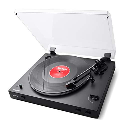 ION Audio Pro200BT Platine Vinyle Tourne Disque de Transmission Bluetooth, Entièrement Automatique, Traction par Courroie, Deux Vitesses, Préampli Commutable pour Vinyles 33 1/3 et 45 tr/min
