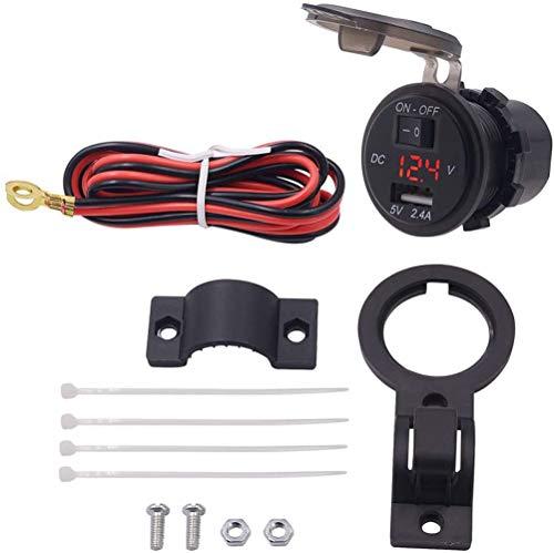 Jankr 12V 24V Motocicleta Manillar USB Cargador de teléfono móvil Enchufe Motocicleta 2.4A Adaptador Toma de Corriente con Interruptor voltímetro Impermeable Red
