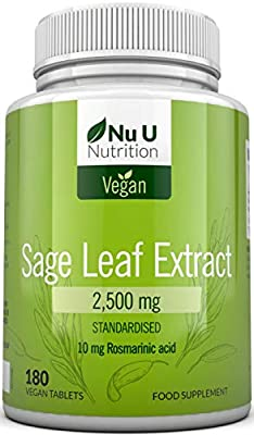 Sage Tablets 2500mg - Sage Leaf - High Strength - Standardised 10mg Rosmarinic Acid - 180 Vegan Tablets 6 Month Supply - Made in The UK