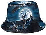 Zharkli Sombrero de lobo nocturno, ciervo, halcón, sol, pescador, sombrero de protección UV, plegable, ligero, transpirable, de viaje, color negro