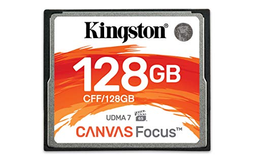Kingston CF Canvas Focus Compact Flash Memory Card 128GB High Performance for Dslr and Professional Photography Cameras (CFF/128GB)