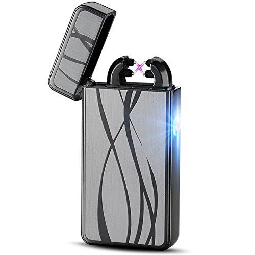 RCOMG Feuerzeug USB Aufladbar Feuerzeug Lichtbogen Feuerzeug Elektronisches Feuerzeug Metall Plasma Elektro USB Feuerzeug Electric Lighter Silber