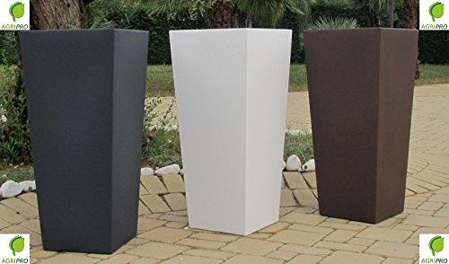Vaso BIANCO quadrato in resina moderno alto H 85 x 34 x 38 con cache pot Made in Italy