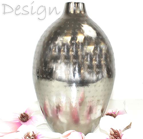 QM BASIC VASE Orient Hammerschlag Optik Silber Dekoration BLUMENVASE Bodenvase ~VDs