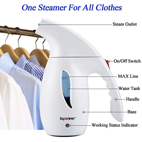 BIPOWER Steamer for Clothes, Powerful Handheld Clothes Steamer, Wrinkle Remover, Newest Design, 60 Seconds Heat-Up Garment Steamer for Home and Travel, Auto-Off, ETL Certified 100% Safe