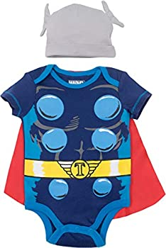 Marvel Avengers Thor Baby Boys Costume Bodysuit with Cape & Hat Blue  6-9 Months