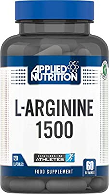 Applied Nutrition L-Arginine 1500mg, Amino Acid Supplement, High Strength, Nitric Oxide Precursor, for Vascularity, Pump, Endurance and Energy - 120 Capsules