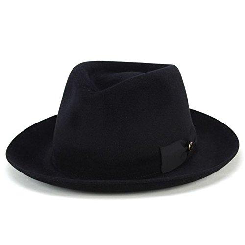 帽子 ハット メンズ テシ イタリア ラビットファー フェルト 中折れ帽 トレンド 高級 ブラック(60cm)