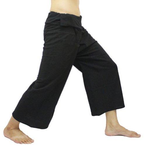 Thai hand made Black Thai Fisherman Wrap Pants Trousers Yoga Massage Pregnancy Pants 100% Light Cotton Free Size by
