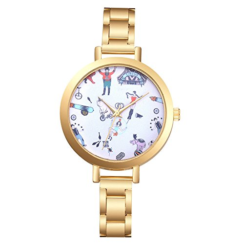 Damen Analog Quarz Uhr mit Leder Armband Gold5232 18253