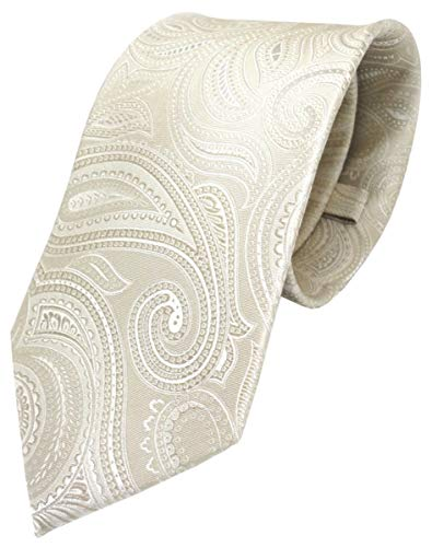 TigerTie - Corbata - beige crema plata paisley