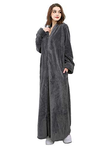 Womens Fleece Robe Plush Long Zip-Front Bathrobe with Pockets (X-Large, Grey)