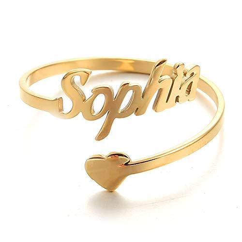 AFSTALR Damen Ring Personalisierte, Benutzerdefinierter Name Ring Gold Eheringe mit Herz Buchstaben Tochter Mutter Geschenk