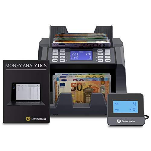 Detectalia V100 - Contadora de valor de billetes para 4 divisas EUR, GBP, PLN y CZK - 27 x 21 x 24 cm