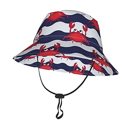 GAHAHA Sombrero de sol para bebé, líneas lindas, cangrejos para niños pequeños, con correa ajustable para la barbilla, plegable, para todas las estaciones, gorro de playa al aire libre, Negro, Small