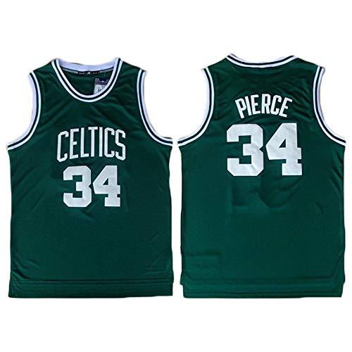 LITBIT Men's Basketball NBA Jersey Boston Celtics 34# Pierce Retro 2021 Transpirable Secado rápido sin Mangas Vestima Top para los Deportes,Verde,M