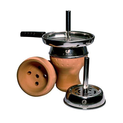 F. Arthur Traditioneller arabische Shisha - Tonkopf Geschmack – All inklusive-Set + Sieb & Gummidichtung – Auch geeignet für Alufolie, Kaminaufsatz oder Smokeboxen