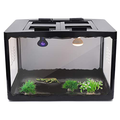 CalPalmy Large Reptile Tank 23'' x 16'' x 16'' (25.5 Gallon) – A Terrarium with 2 Intergraded Lamp Fixtures | Habitat for Small Reptiles Like Young Bearded Dragons, Lizards, Small Snakes and More