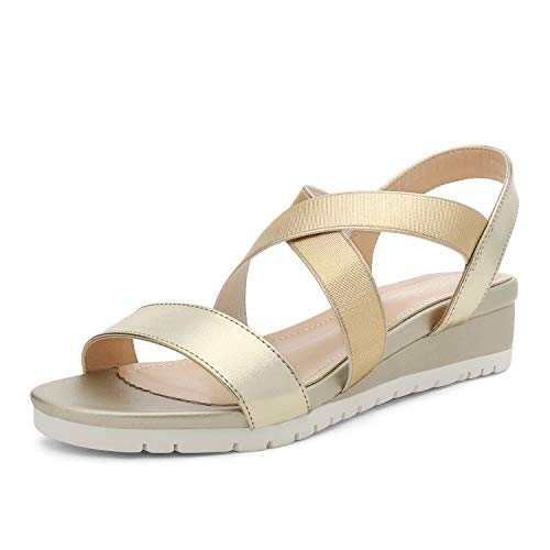 DREAM PAIRS Gold Wedge Sandals for Women, Casual Open Toe with Elastic Ankle Strap Platform Cute Slingback Beach Wedge Sandals Size 8.5 M US Karely-1