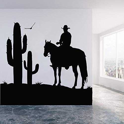 Tianpengyuanshuai Desert Horse Cactus Vinyl Wandaufkleber Schlafzimmer Wandtattoo Wohnzimmer Home Decoration Wandbild 36X50cm