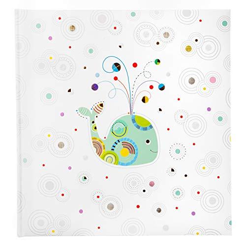 goldbuch Babyalbum Whale Serenity im Turnowsky Design, Kunstdruck Fotoalbum mit 60 weiße, Pergamin & 4 illustrierte Seiten, Baby Album zum Einkleben mit Goldprägung, ca. 30 x 31 cm