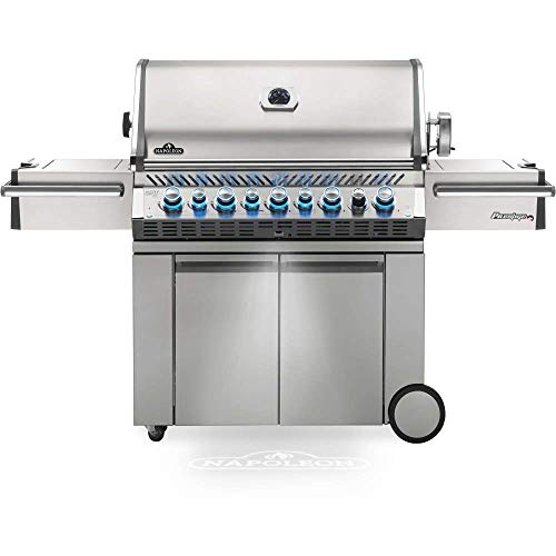 Napoleon PRO665RSIBPSS-3 Prestige PRO 665 RSIB Propane Gas Grill, sq.in. + Infrared Side and Rear Burners, Stainless Steel