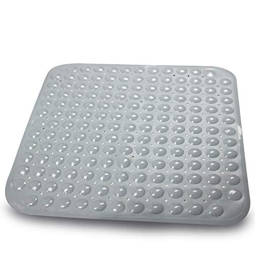 Sarenius Duschmatte 53 cm x 54 cm – Antirutschmatte für die Duschwanne mit extra starkem Halt – BPA-frei – Hochwertige Duscheinlage aus pflegeleichtem PVC (grau)