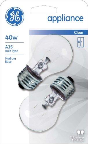 GE Appliance 21188 40-Watt, 415-Lumen A15 Light Bulb with Medium Base, 2-Pack