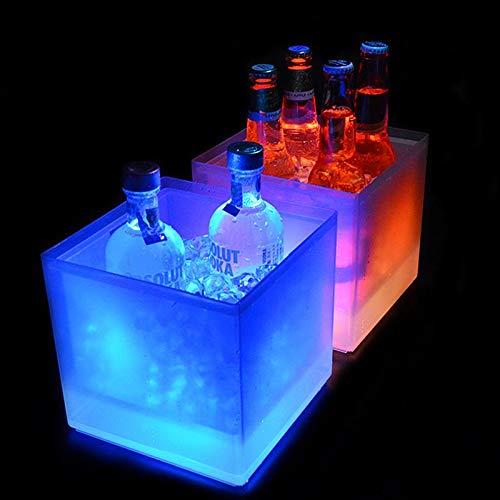 Volwco Cubitera de Hielo con luz LED Que Cambia de Color, Doble Capa, Cuadrada, para Cerveza, cubeta de Hielo, champán, Vino, Bebidas, Cubo de Cerveza para Fiestas KTV, Bar, casa, Boda, 118 onzas