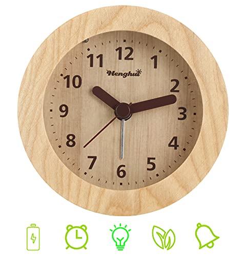 DTKID Analoger Wecker Holz Wecker Nicht Tickt Leise Nachttisch Wecker mit Licht Alarm Massivholz Schick Wecker (Braun 855) (Dunkelbraun) (Braun)