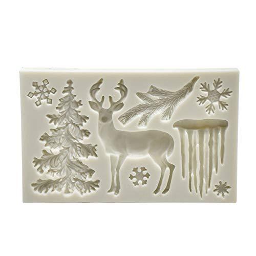 Zumint 2020 Weihnachten 3D Silikonformen backformen Set, Weihnachtsbaum, Schneemann und Elch Silikonform Formen Backform Schokoladenform für Schokolade, Kuchen, Gelee (AA)