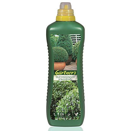 Gärtner's Buchsbaumdünger 1 Liter I Buchsbaum Dünger für Kübelpflanzen und Freilandpflanzen I NPK Dünger 8+5+6 I Mineralischer Flüssigdünger I Volldünger mit Spurennährstoffen