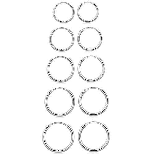 Mannli - Set di 5 paia di orecchini a cerchio in argento Sterling 925 per donne e uomini, piccoli orecchini rotondi ipoallergenici 8/10/12/14/16 mm, argento e oro e Argento
