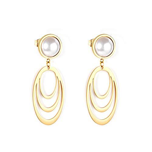 Pendientes Estilo de moda Pendientes falsos de perlas de imitación de color dorado Pendientes de gota ovalados multicapa de acero inoxidable
