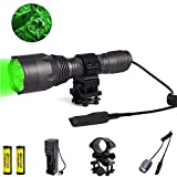 LUXJUMPER Jagd Taschenlampe, 1000 Lumen Jagdlicht 350 Yards Taktische Taschenlampe Wasserdichte Singlemode-Taschenlampe für die Jagd mit Druckschalter (Grünes Licht)