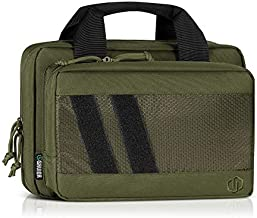 Savior Equipment Specialist Series Tactical Double Scoped Handgun Firearm Case Discreet Pistol Bag for Outdoor Hunting Shooting Range, Lockable Compartment, Additional Magazine Storage Slots