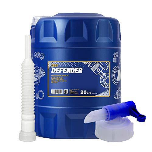 MANNOL 20 Liter, Defender 10W-40 MOTORÖL + HAHN + Schlauch