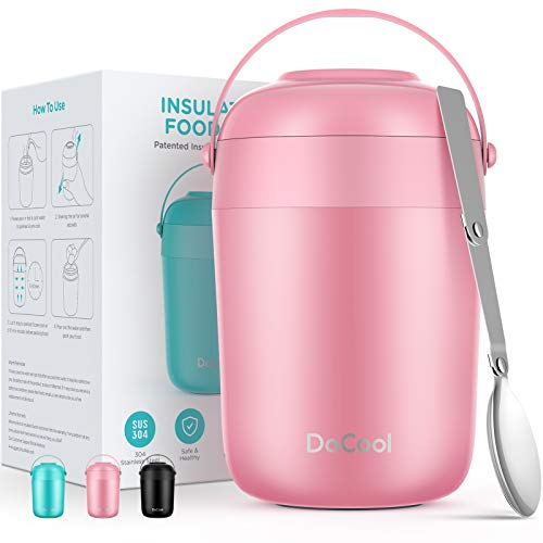 DaCool Kids Food Thermoses Insulated Lunch Containers 16 oz Leak Proof Toddler Vacuum Stainless Steel Hot Food Jar With Folding Spoon Keep Food Warm Container Lunch Box for Kids Office Outdoors Pink